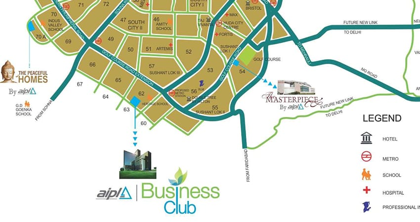 aipl-business-club-location-map